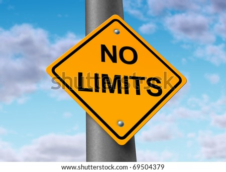 no limits endless limitless potential positive believe sky limited road sign obstacles removed