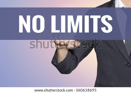 No Limits word Business man touch on virtual screen soft sweet vintage background - stock photo
