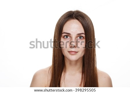 NO MAKEUP Natural Clean Face of Young Brunette Girl Without No makeup. Studio Portrait White Isolated. Problem Teenager Skin Acne and Pimple.  - stock photo
