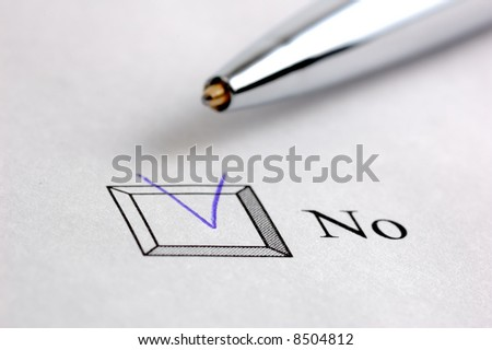 no marked in blue on a survey - stock photo