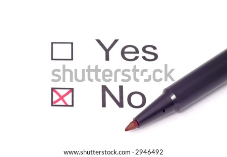 no marked in red on a survey - stock photo