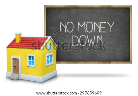 No money down on black blackboard with 3d house - stock photo