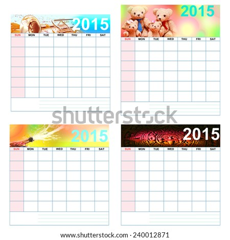 No month & date of Simple 2015 colorful calendar.  - stock photo