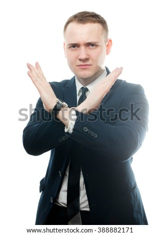 No More Concept, Stop Gesture. Portrait of a young man stressed, depressed with raised hands making