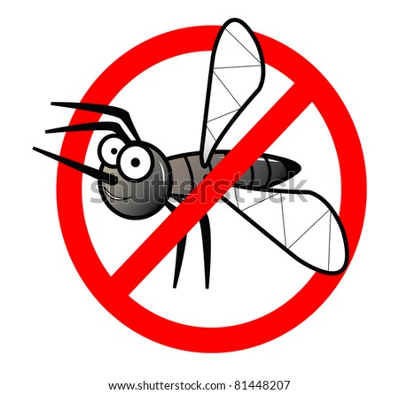 No mosquitos sign illustration isolated on white - stock photo