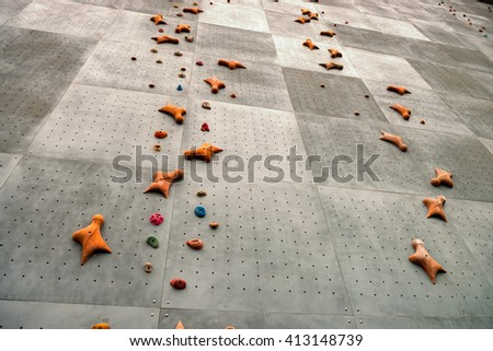 No one of rock climbing walls - stock photo