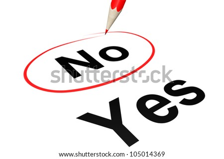 No outline by red pencil on a white background - stock photo