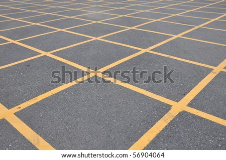 no parking cross line symbol on the road surface - stock photo