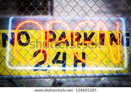 NO PARKING 24 HOURS OPEN - stock photo