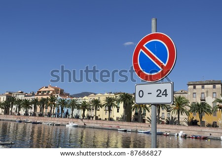 no parking road sign by Temo river in Bosa