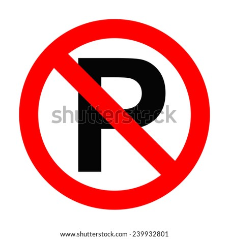 No parking sign icon on white background - stock photo