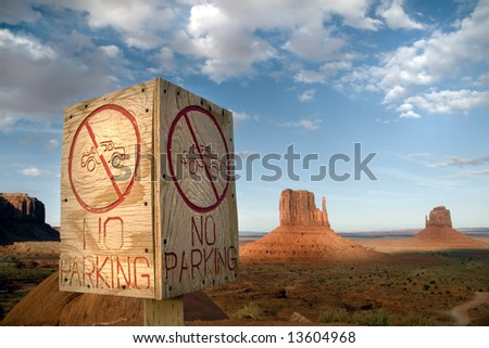 No Parking sign in Monument Valley Tribal Park - stock photo