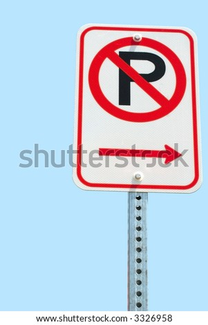 No parking sign isolated on sky - stock photo