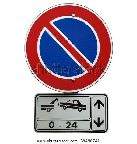 No parking 0-24 sign isolated on white