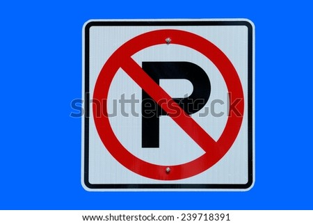 No parking sign  on street - stock photo
