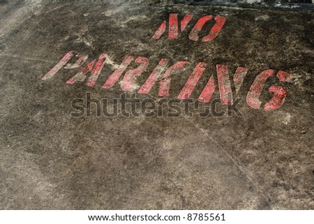No Parking sign painted on the ground - stock photo