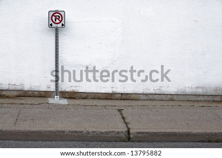 No Parking Sign with copy space - stock photo