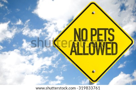No Pets Allowed sign with sky background - stock photo