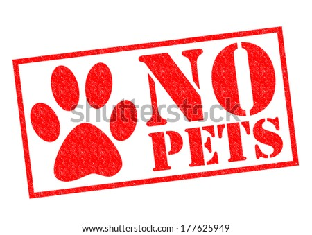 NO PETS red Rubber Stamp over a white background. - stock photo