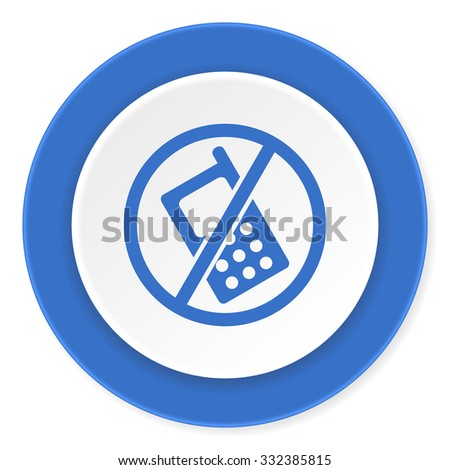 no phone blue circle 3d modern design flat icon on white background  - stock photo