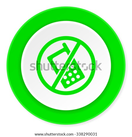 no phone green fresh circle 3d modern flat design icon on white background  - stock photo