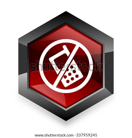 no phone red hexagon 3d modern design icon on white background  - stock photo