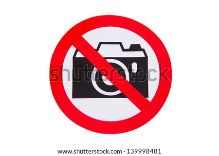 No photography allowed on white background - stock photo