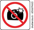 No photography allowed sign with flash (2) - stock photo