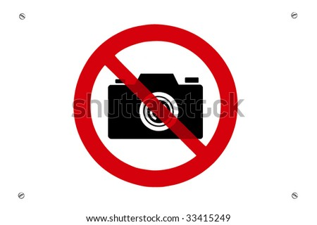 No photos prohibition sign with screws - stock photo