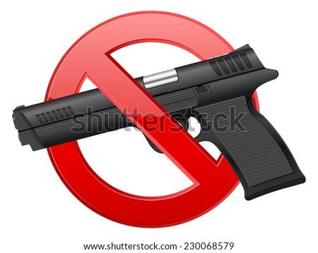 no pistol illustration. - stock photo