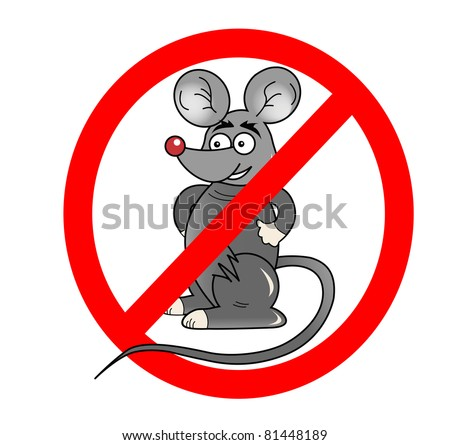 No rats sign illustration isolated on white - stock photo