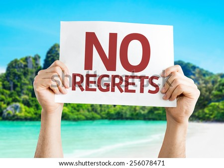 No Regrets card with beach background - stock photo
