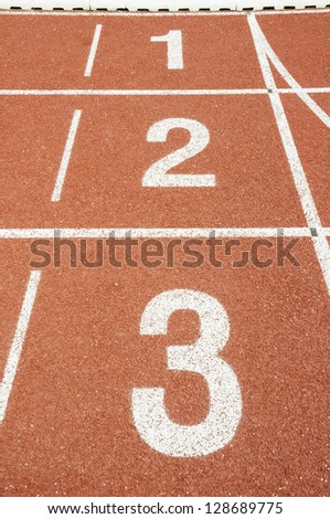 No 3-2-1 runing track in stadium. - stock photo