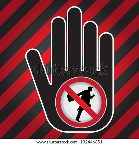 No Running Prohibited Sign Present By Hand With No Businessman Running Sign Inside in Caution Zone Dark and Red Background - stock photo