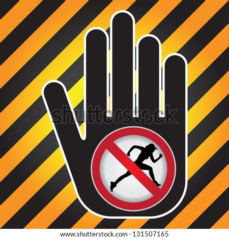 No Running Prohibited Sign Present By Hand With No Running Sign Inside in Caution Zone Dark and Yellow Background - stock photo