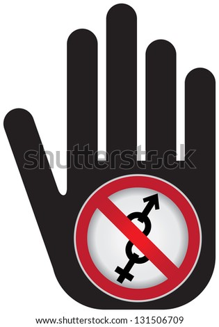 No Sex Prohibited Sign Present By Hand With No Male and Female Sex Sign Inside Isolated on White Background - stock photo