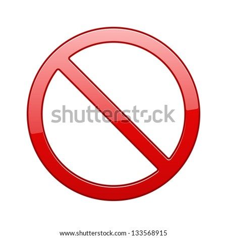 No Sign, No symbol, Not Allowed isolated on white background. See also vector version - stock photo