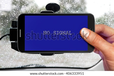 no signal from portable device for navigation of car - stock photo