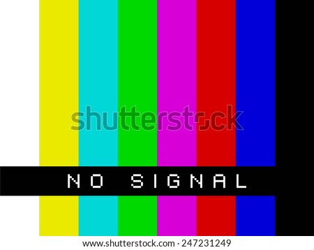 No signal on TV screen - basic colors - stock photo
