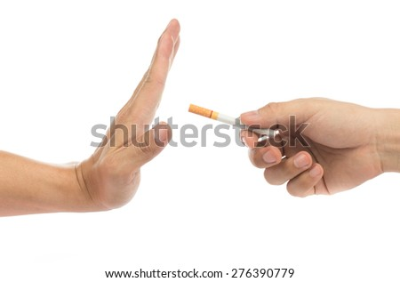 No smoke and stop your badly health with white background - stock photo