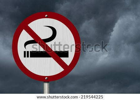 No Smoking Allowed Sign, An red road sign with cigarette icon and not symbol with stormy sky background - stock photo