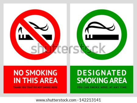 No smoking and Smoking area labels - Set 2. Rasterized versions (copy of the vector) - stock photo