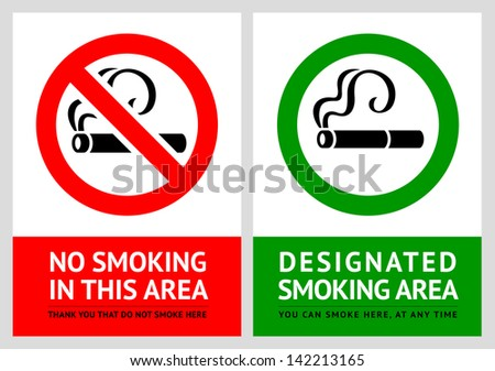 No smoking and Smoking area labels - Set 7. Rasterized versions (copy of the vector) - stock photo