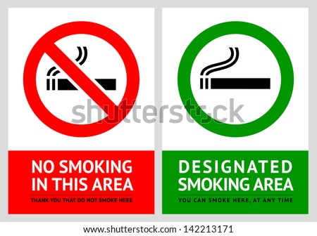 No smoking and Smoking area labels - Set 13. Rasterized versions (copy of the vector) - stock photo