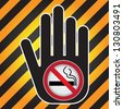No Smoking Are Not Allowed Prohibited Sign Present By Hand With No Smoking in This Area Sign Inside in Caution Zone Dark and Yellow Background - stock photo