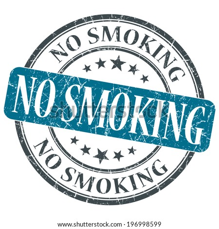 No smoking blue round grungy stamp isolated on white background - stock photo
