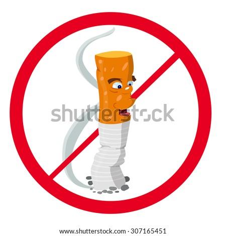 No smoking, cartoon cigarette prohibition sign - stock photo