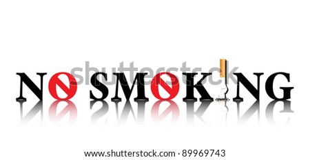No Smoking concept with the i in smoking being replaced by a stubbed out cigarette &the o being replaced by a forbidden sign. On white background with space for text.Also available in vector format. - stock photo