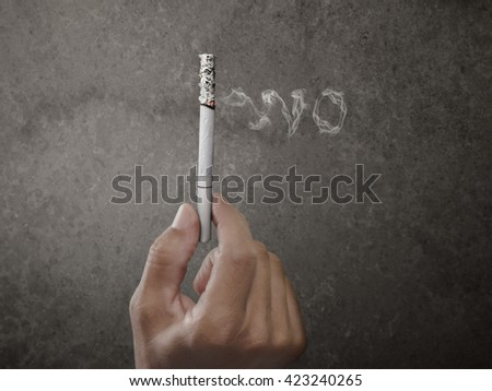 No smoking for environment, made by retouch ,concept World No Tobacco Day - stock photo
