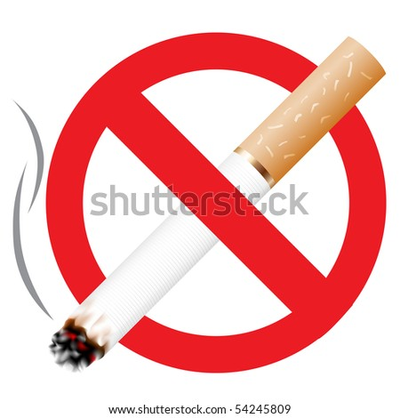No smoking icon isolated on the white background - stock photo
